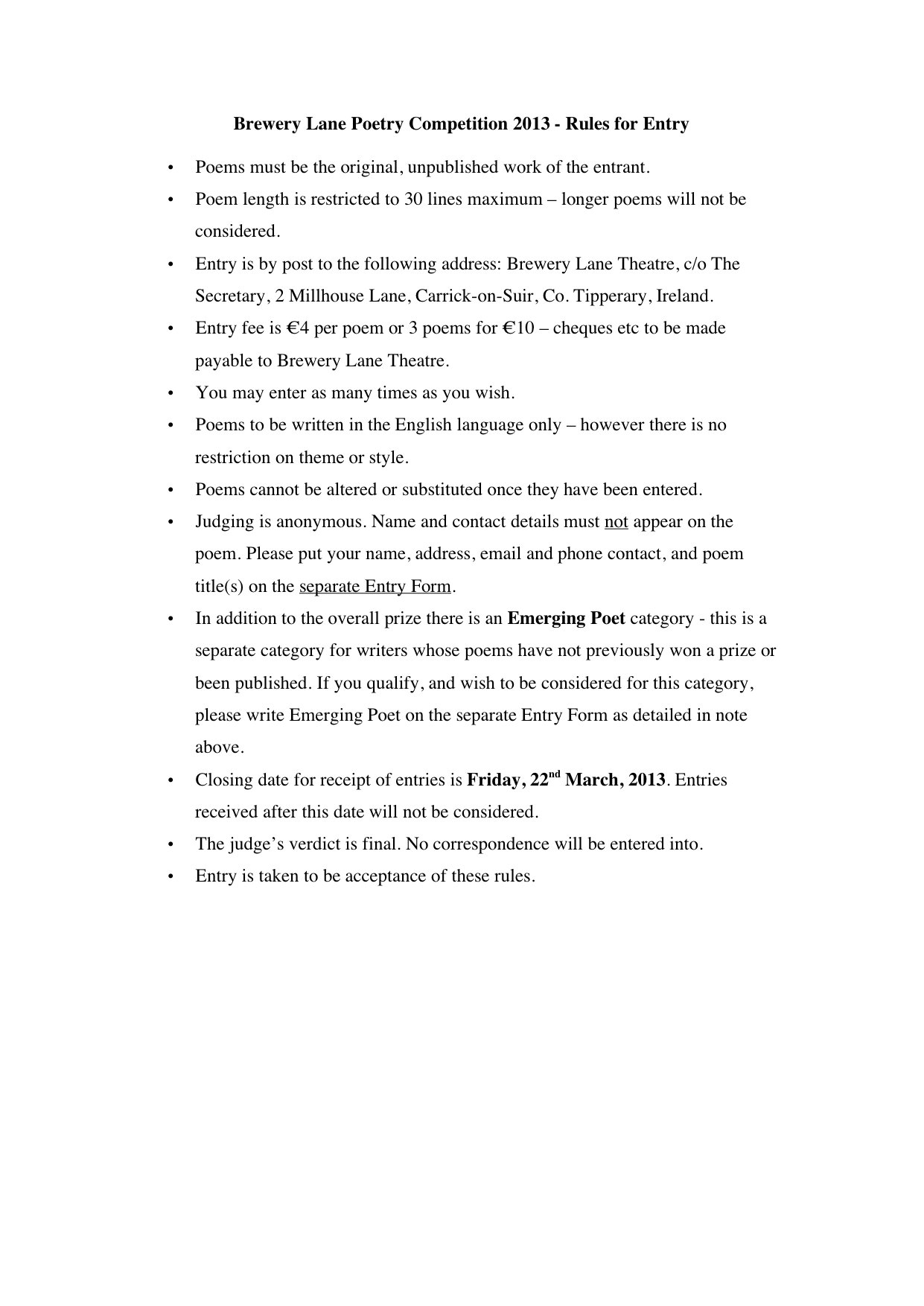 Brewery Lane Poetry Competition Entry Rules Writing