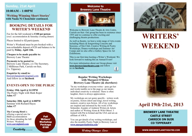 Brochure Brewery Lane Writers' Weekend April 19-21 2013