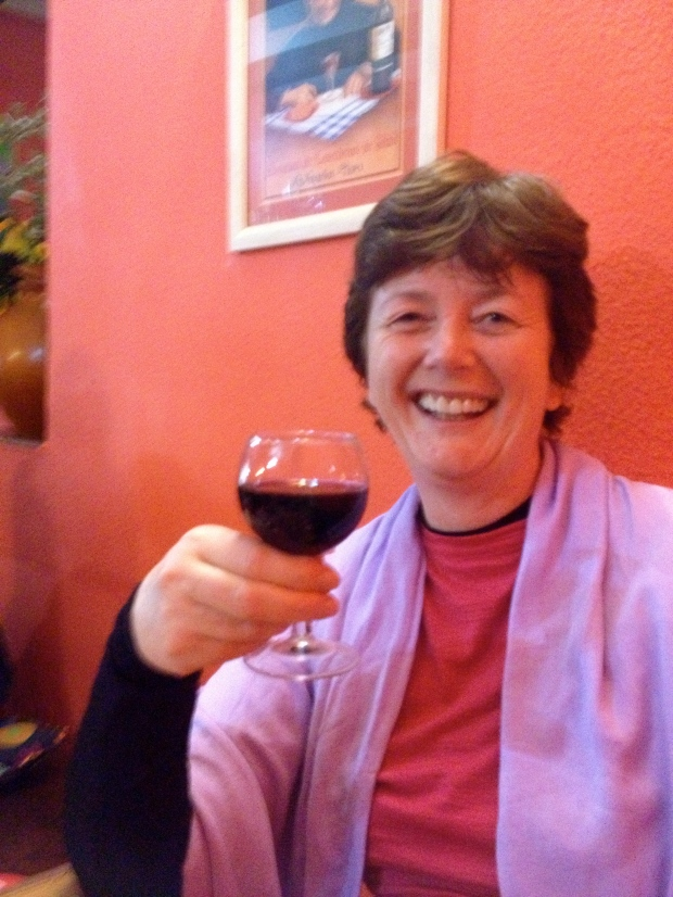 Relaxing with a glass of Rioja in Navarrete