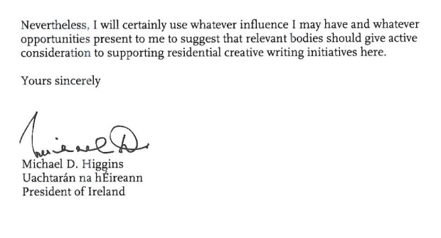 Reply from President Higgins